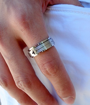 Silver Cross Spinner Ring