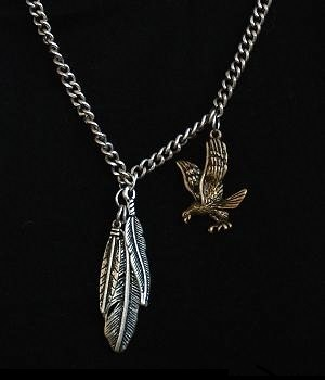 Men's G By Guess Silver Eagle Silver Feather Pendant Necklace