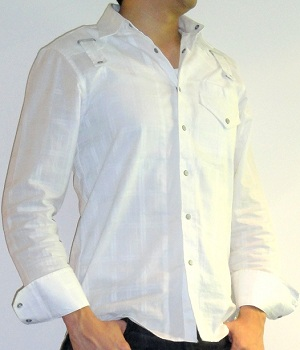 Men's G By Guess Snap Button White Tonal Long Sleeve Shirt