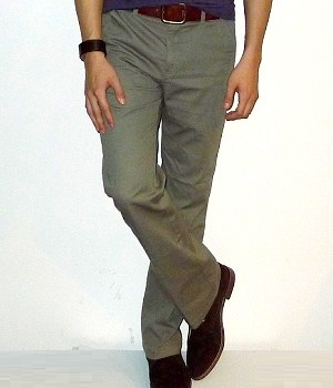 Giordano Dark Khaki Cotton Straight Pants