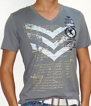 Men's Express Gray Chevron Text Graphic Tee