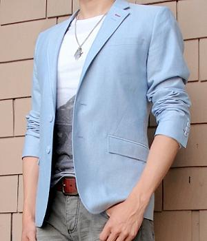 Blue blazer with sleeves rolled up