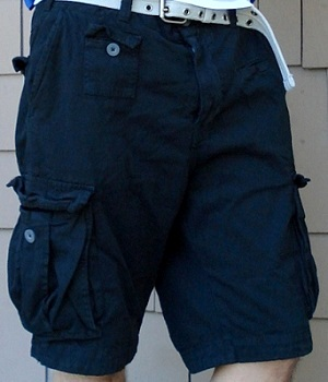 Mens H&M Black Belted Cargo Shorts