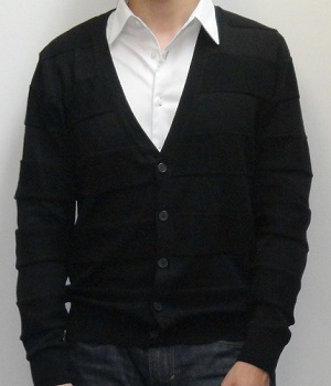 Black cardigan with white shirt