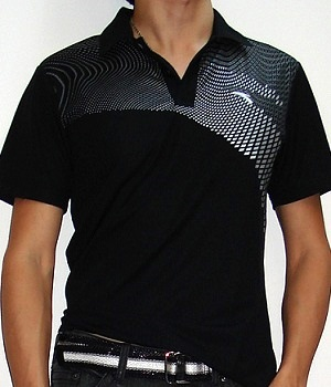 Men's H&M Black Graphic Polo Shirt