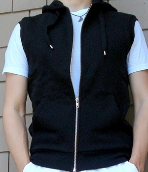 Men's H&M Black Zip Up Hooded Vest