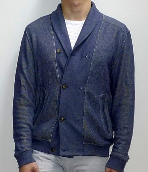 Men's H&M Blue Button Down Shawl Jacket