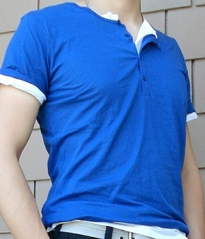 Men's H&M Royal Blue Button Neck T-Shirt