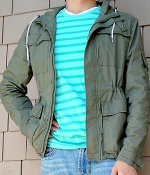 Men's H&M Dark Green Hooded Jacket