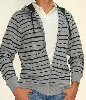 Men's H&M Black Grey Striped Hoodie