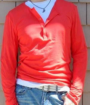 Men's H&M Orange Long Sleeve Button Neck T-Shirt