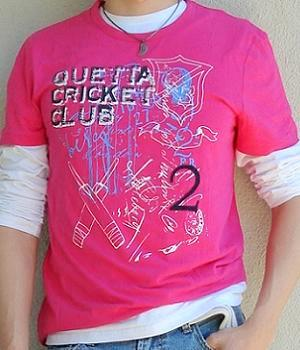 Pink graphic t-shirt, white long sleeve t-shirt, light blue jeans