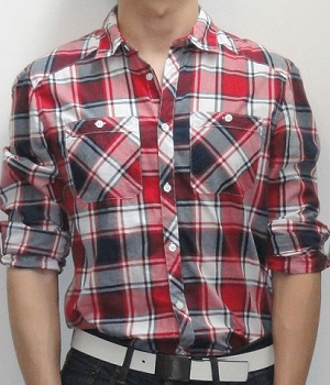 Men's H&M Red Black White Plaid Long Sleeve Shirt