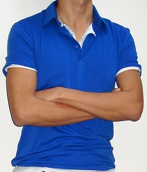 H&M Royal Blue Cotton Stretch Polo Shirt