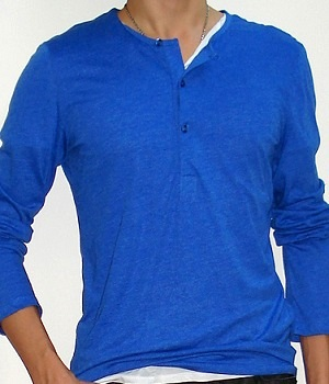 H&M Royal Blue Long Sleeve Button Neck T-Shirt