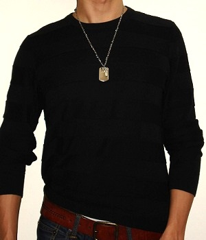 H&M Solid Black Crew Neck Sweater