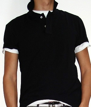 Men's H&M Solid Black Polo Shirt