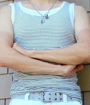 Men's H&M White Black Striped Tank Vest