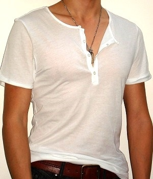 White short sleeve half button t-shirt
