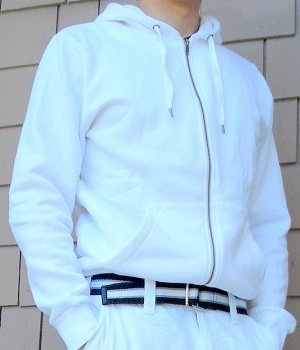 Men's H&M White Zip Up Hoodie