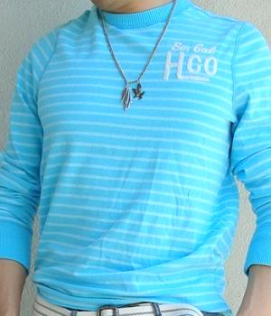 A Sweatshirt - Hollister Blue Striped Sweatshirt