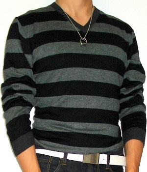 Men's Impermeable Platinum Black V-Neck Grey Striped Sweater