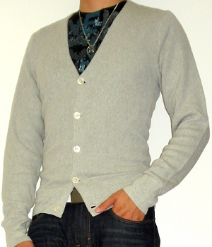 Grey cardigan with black graphic T-shirt