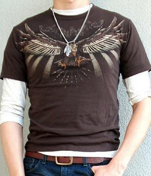 Men's Brown Short Sleeve Crew Neck Graphic T-Shirt