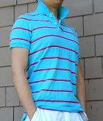 Abercrombie & Fitch Blue Striped Polo