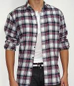 American Eagle Black Red White Plaid Long Sleeve Shirt