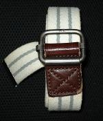 American Eagle White Cotton Belt With Gray Stripes