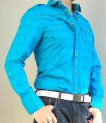 G By Guess Ocean Blue Button Down Aviator Shirt