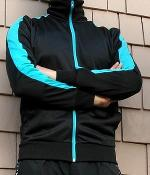 H&M Black Nylon Jacket With Cyan Stripes