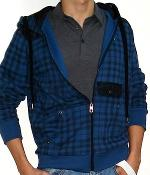 Marc Ecko Dark Blue Check Zip Hoodie Jacket
