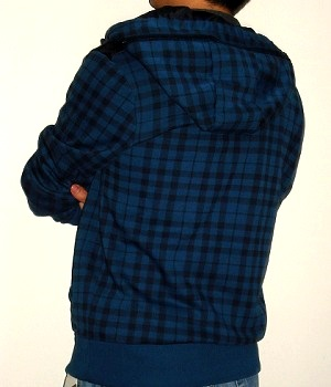 Men's Marc Ecko Dark Blue Check Zip Hoodie Jacket