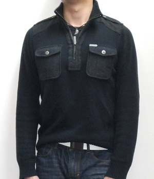 Marc Ecko Dark Blue Half Zip Mock Neck Sweater