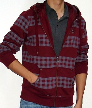 Marc Ecko Dark Red Check Zip Hoodie Jacket
