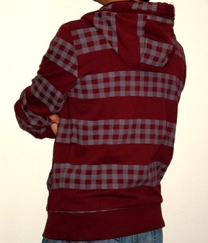 Men's Marc Ecko Dark Red Check Zip Hoodie Jacket