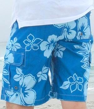 Men's Merona Blue Floral Swim Trunks