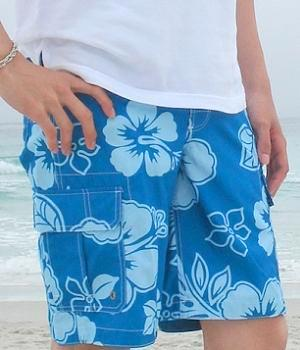 Merona Blue Floral Swim Trunks