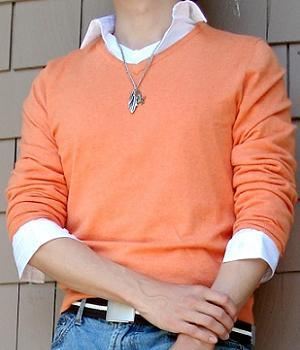 An light orange sweater over a white shirt