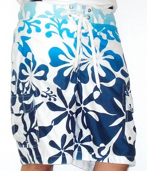Men's Merona White Floral Swim Shorts
