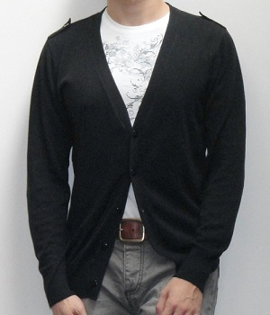 Men's NET Black Cardigan Sweater