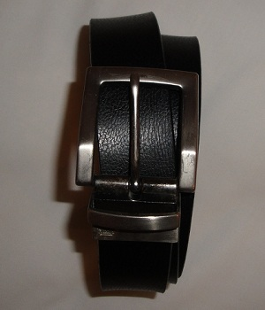 Men's NET Black Reversible Swivel Buckle Leather Belt