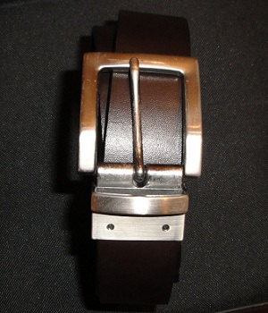 Men's NET Dark Brown Reversible Swivel Buckle Leather Belt