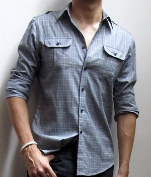 NET Grey Checked Button Down Casual Shirt