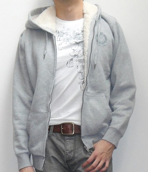 Gray Zip Hoodie Jacket over White Graphic Tee