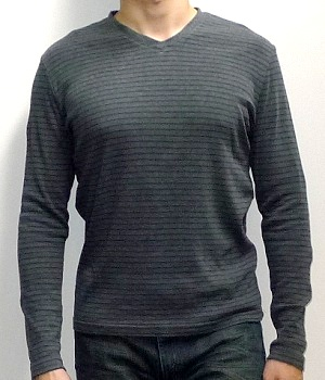 Men's NET Grey Striped Long Sleeve V-neck Sweatshirt