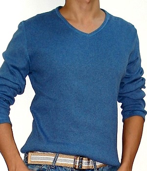 Men's NET Solid Blue Ribbed Long Sleeve V-Neck Sweatshirt