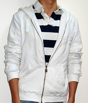 Men's NET White Graphic Zip Hoodie